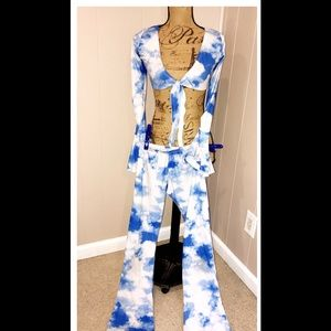 Rave Costume 3 piece Long sleeve bell bottoms EUC